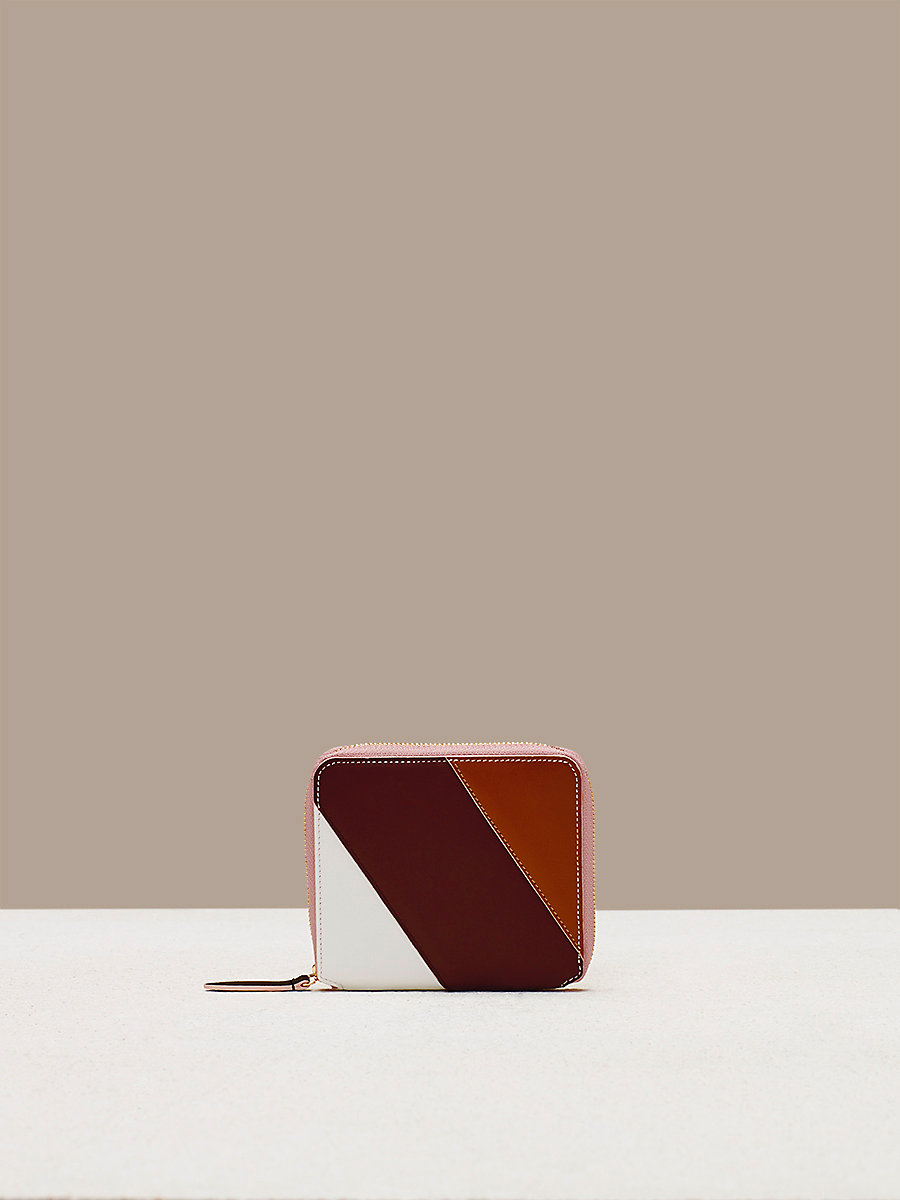 Small Zip-Around Wallet in Ivory/ Bordeaux/ Kola by DVF