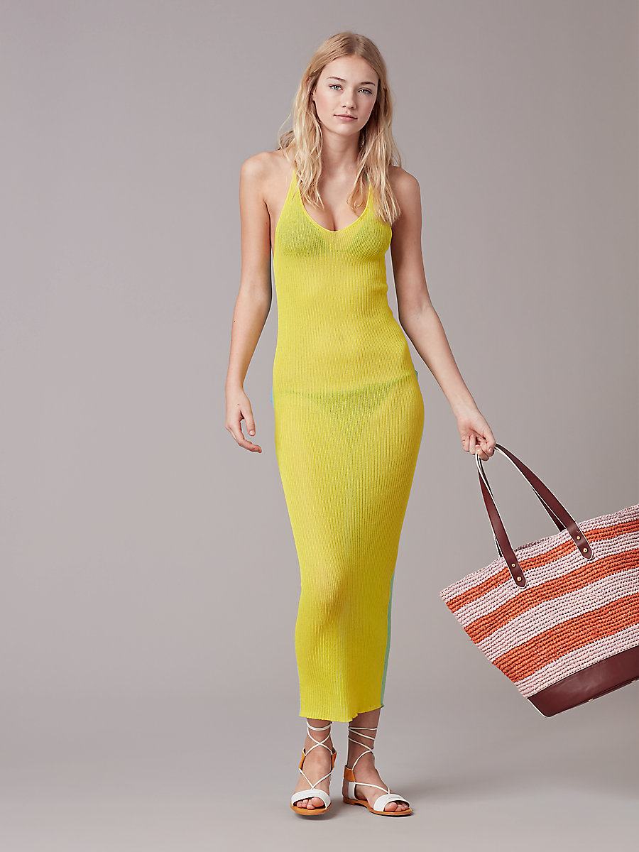 Cross Back Knit Dress in Acid Yellow Combo by DVF