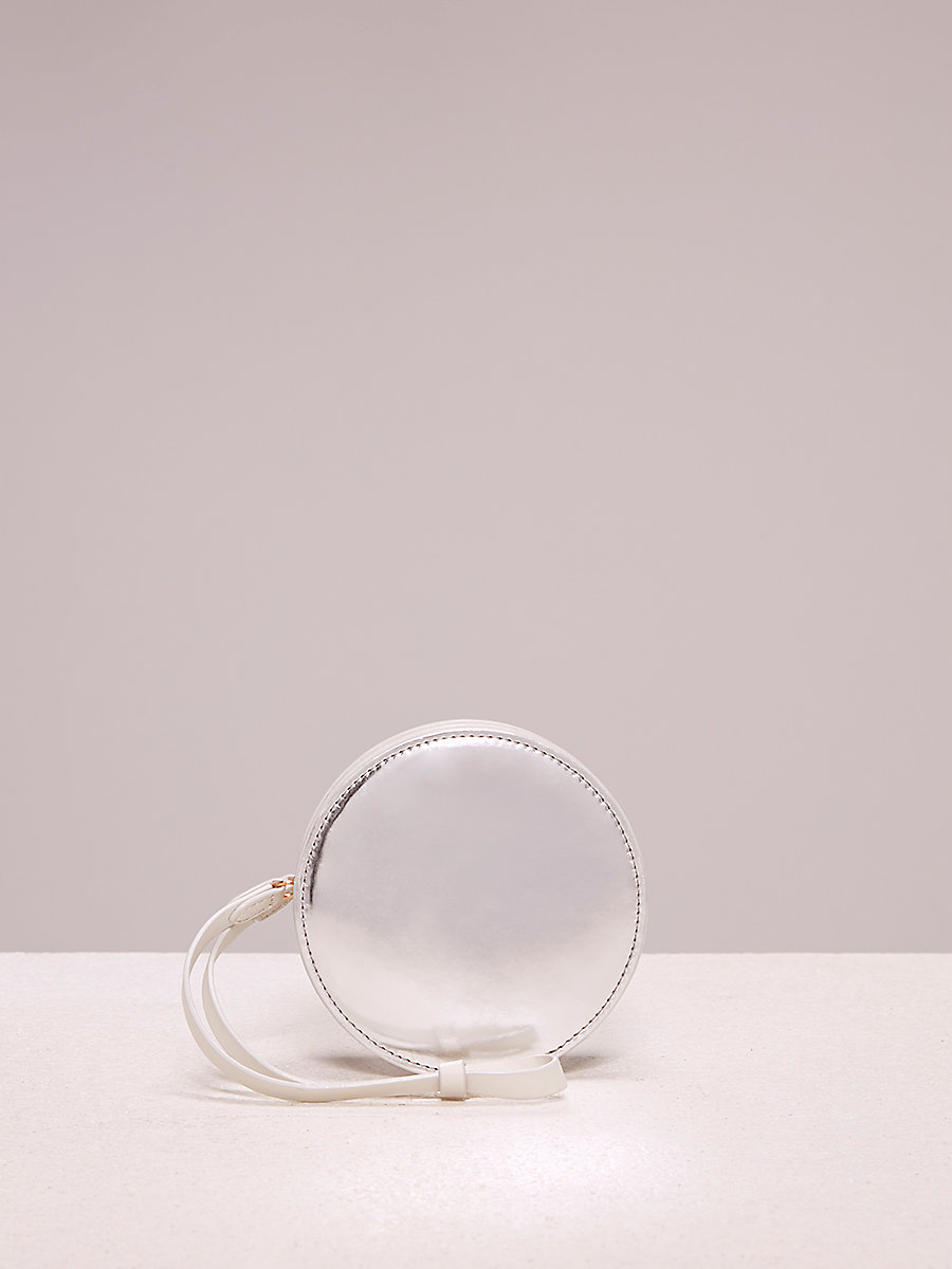 Circle Coin Pouch in Silver by DVF