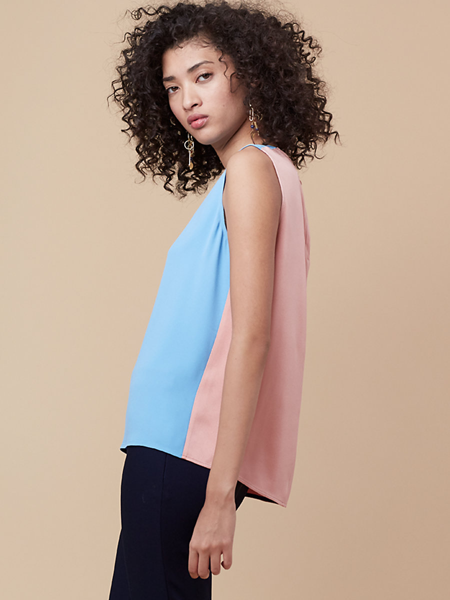 Sleeveless Shell in True Blue/ Dusty Rose by DVF