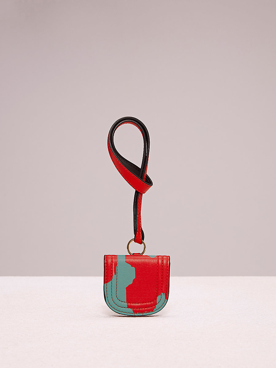 Luggage Tag in Eylan Bold Red/ Bright Aqua by DVF