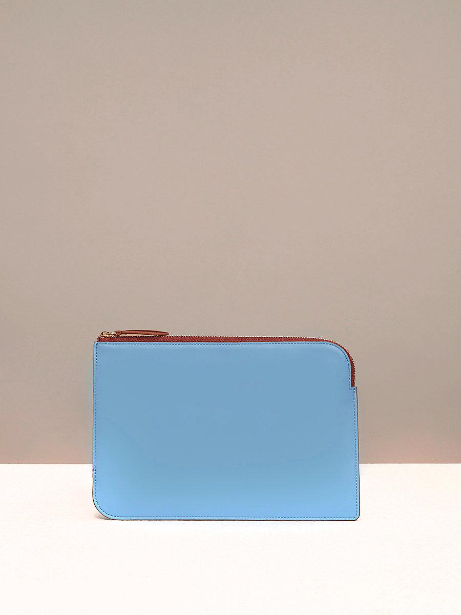 Medium Zip Pouch in Powder Blue/ Dusty Pink by DVF
