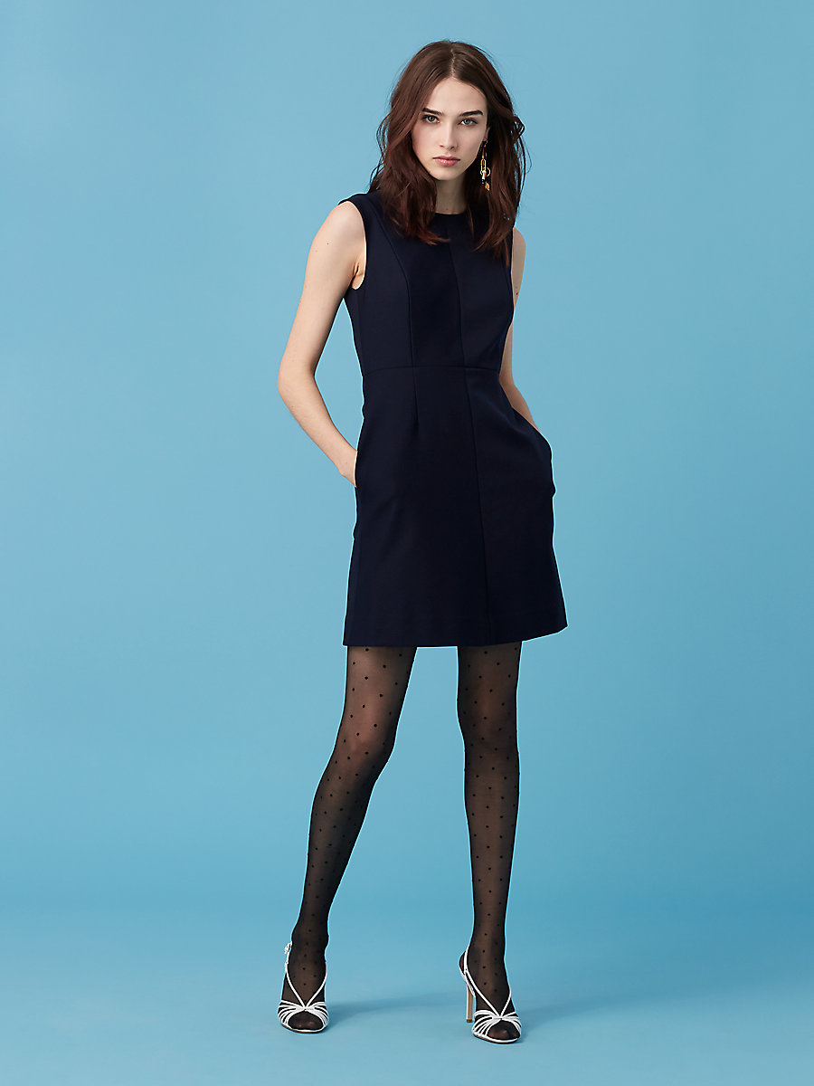 Tailored Shift Dress in Alexander Navy by DVF