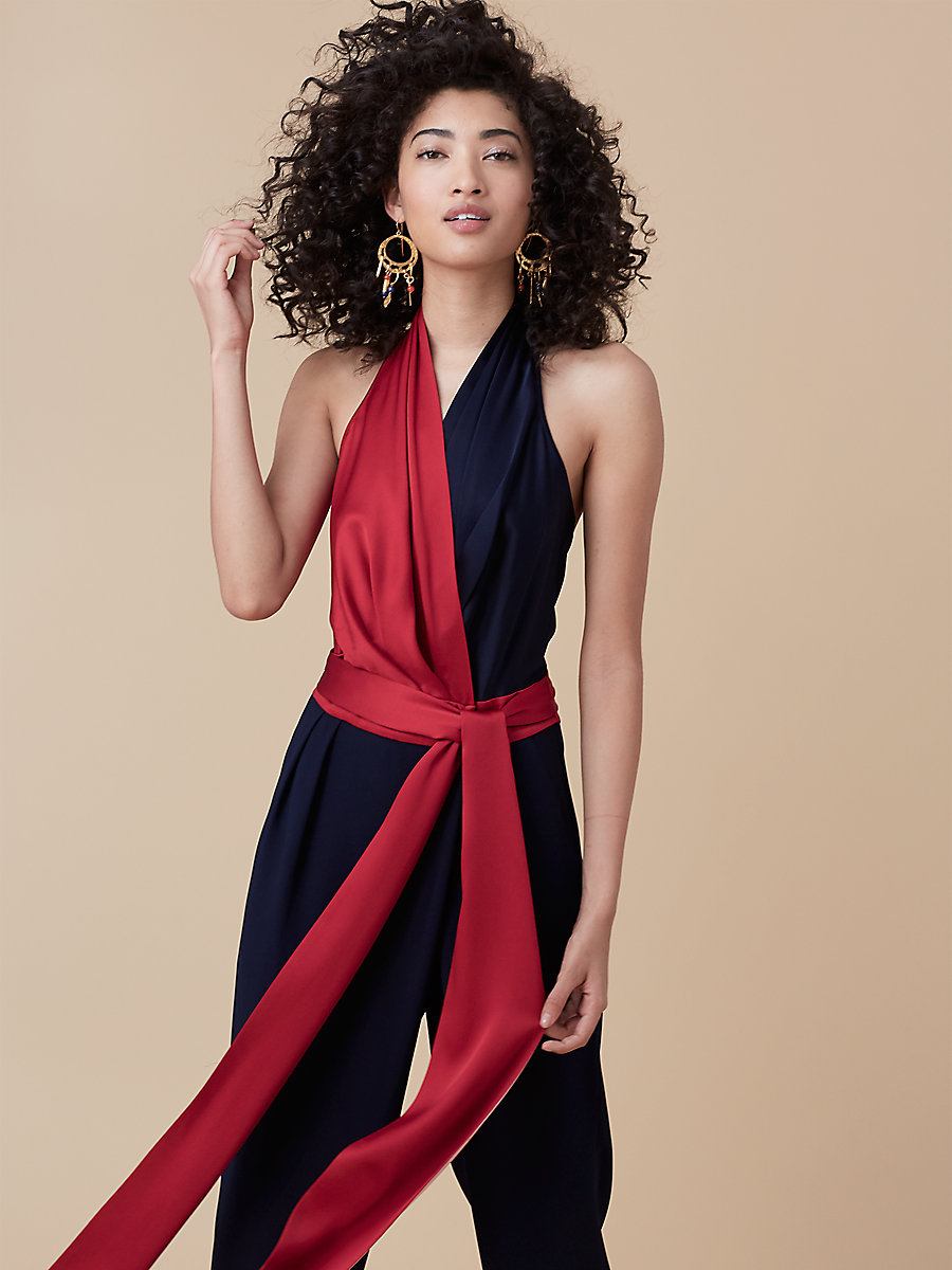 Faux Wrap Jumpsuit in Alexander Navy/ Red by DVF