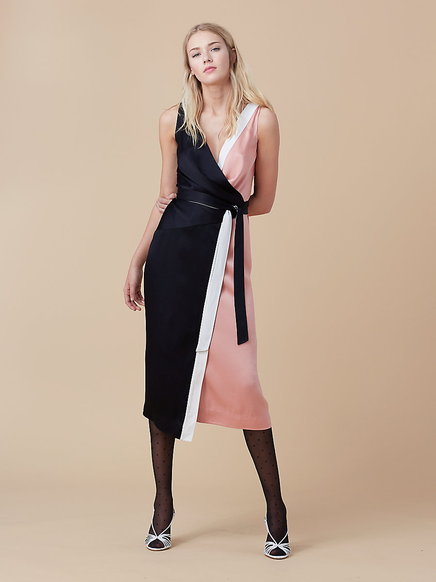 Color-blocked Wrap Dress in Black/ Dusty Rose/ Ivory by DVF