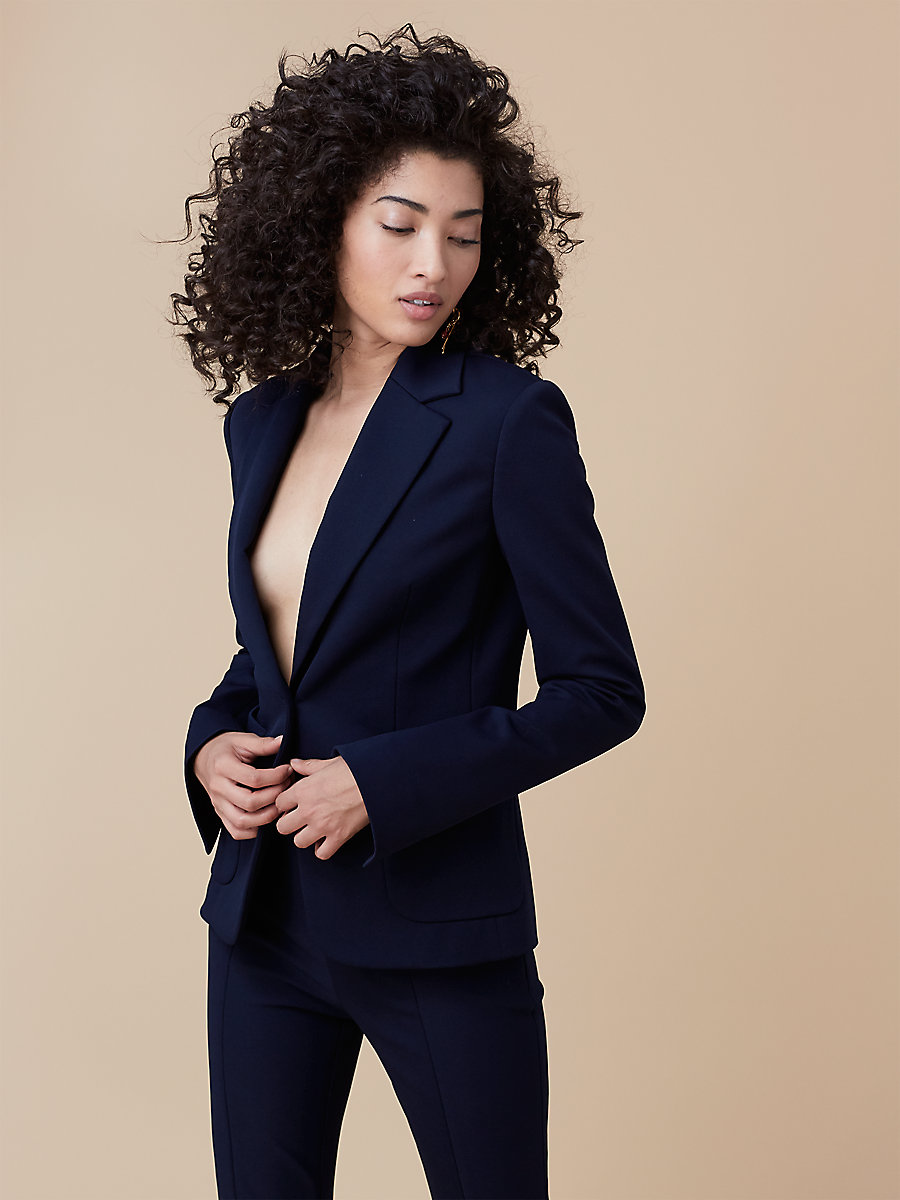 Tailored Jacket in Alexander Navy by DVF