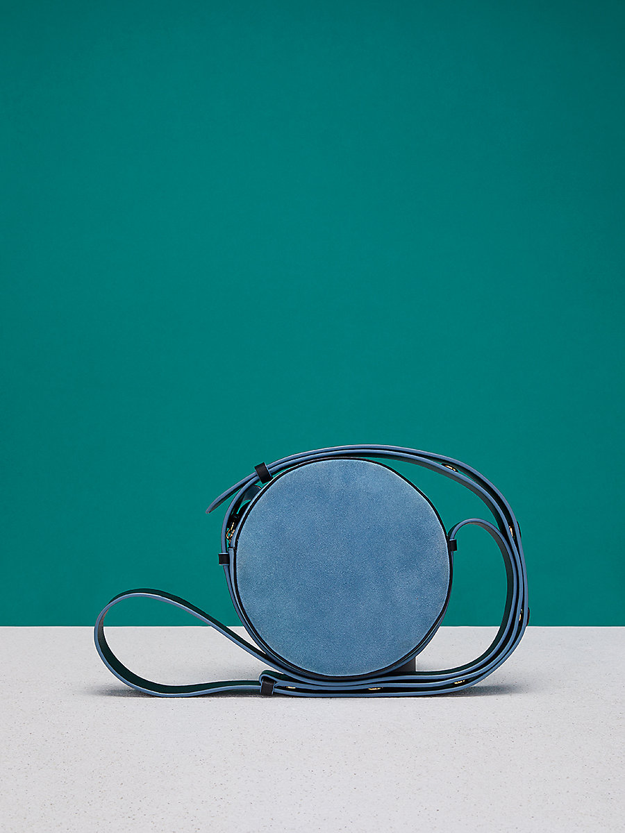 Suede Circle Handbag in Slate Blue/ Black by DVF