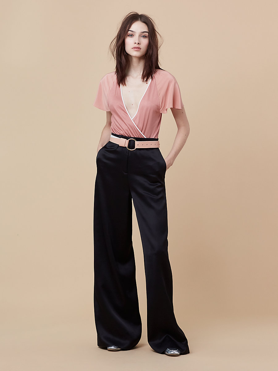 Wide Leg Evening Pant in Black by DVF