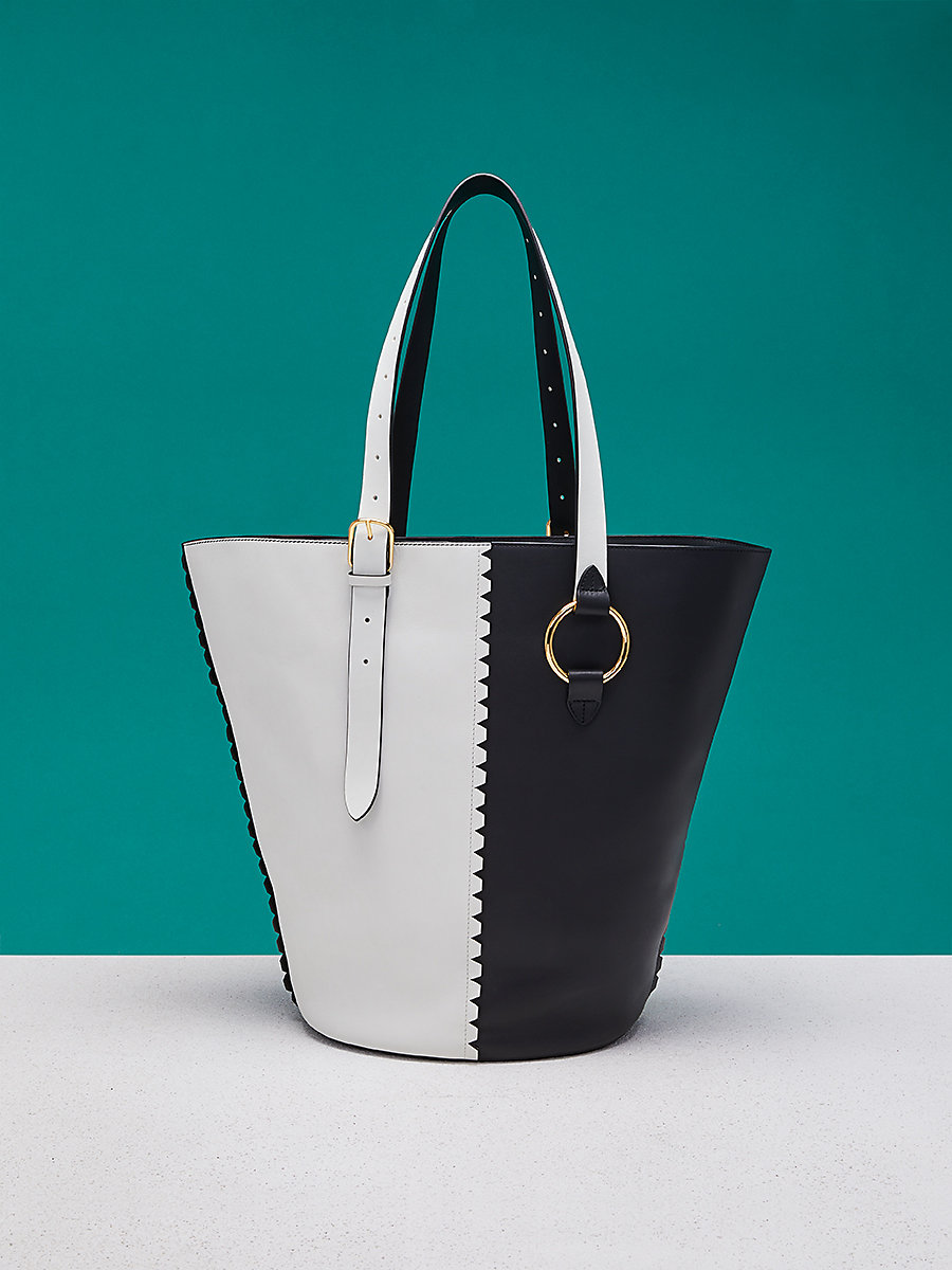 East West Belted Tote in Black/ Ivory by DVF