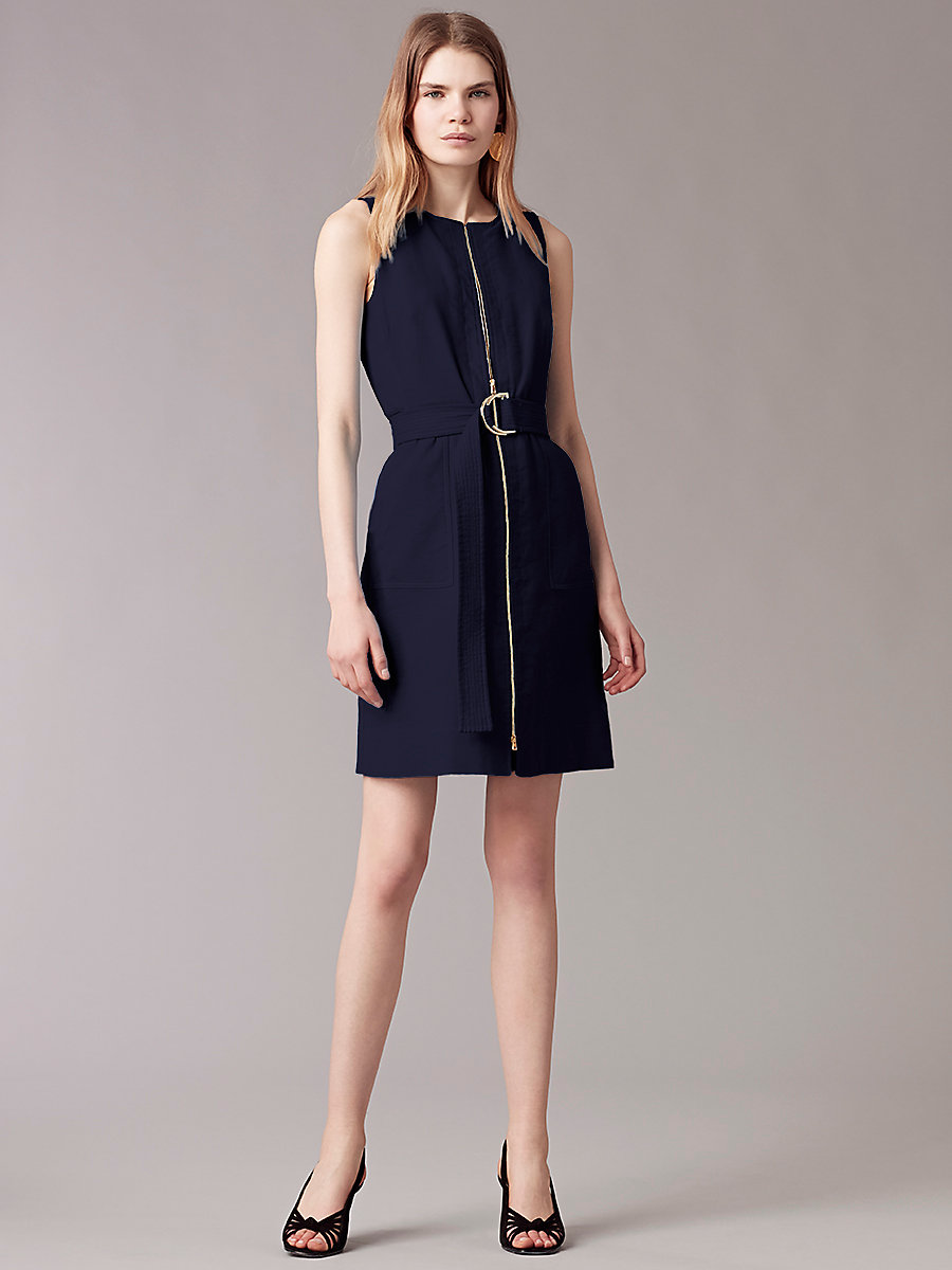 Sleeveless Zip Front Dress in Alexander Navy by DVF
