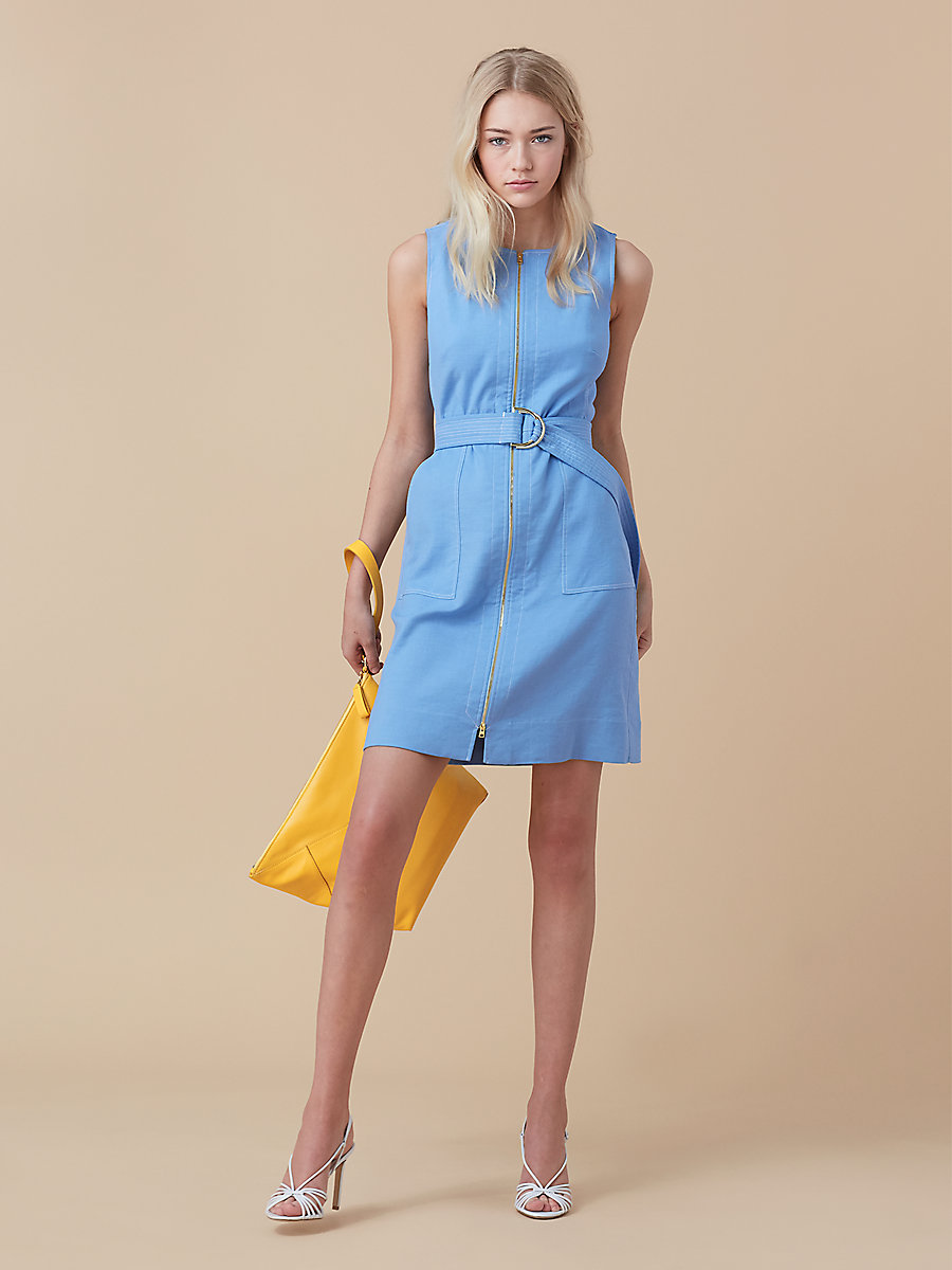 Sleeveless Zip Front Dress in Hortensia Blue by DVF