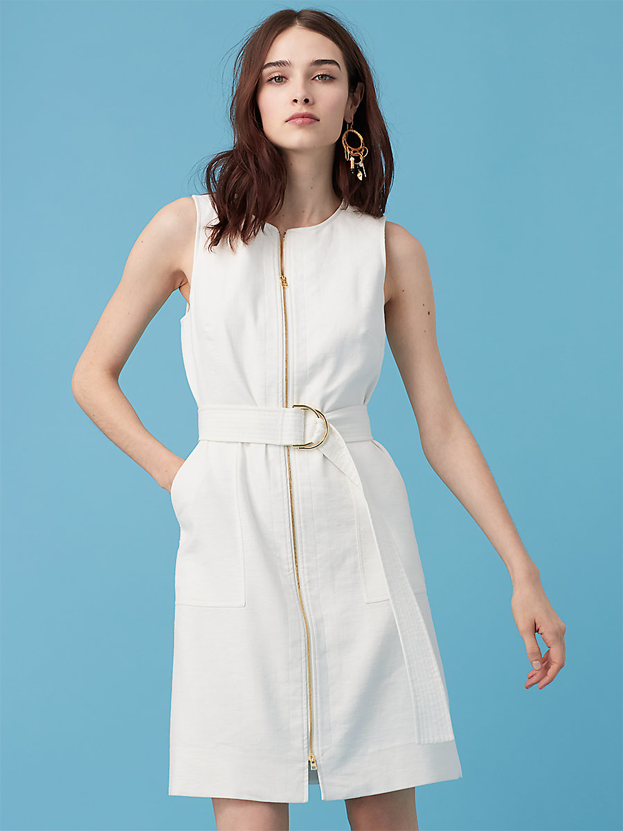 Sleeveless Zip Front Dress in Ivory by DVF