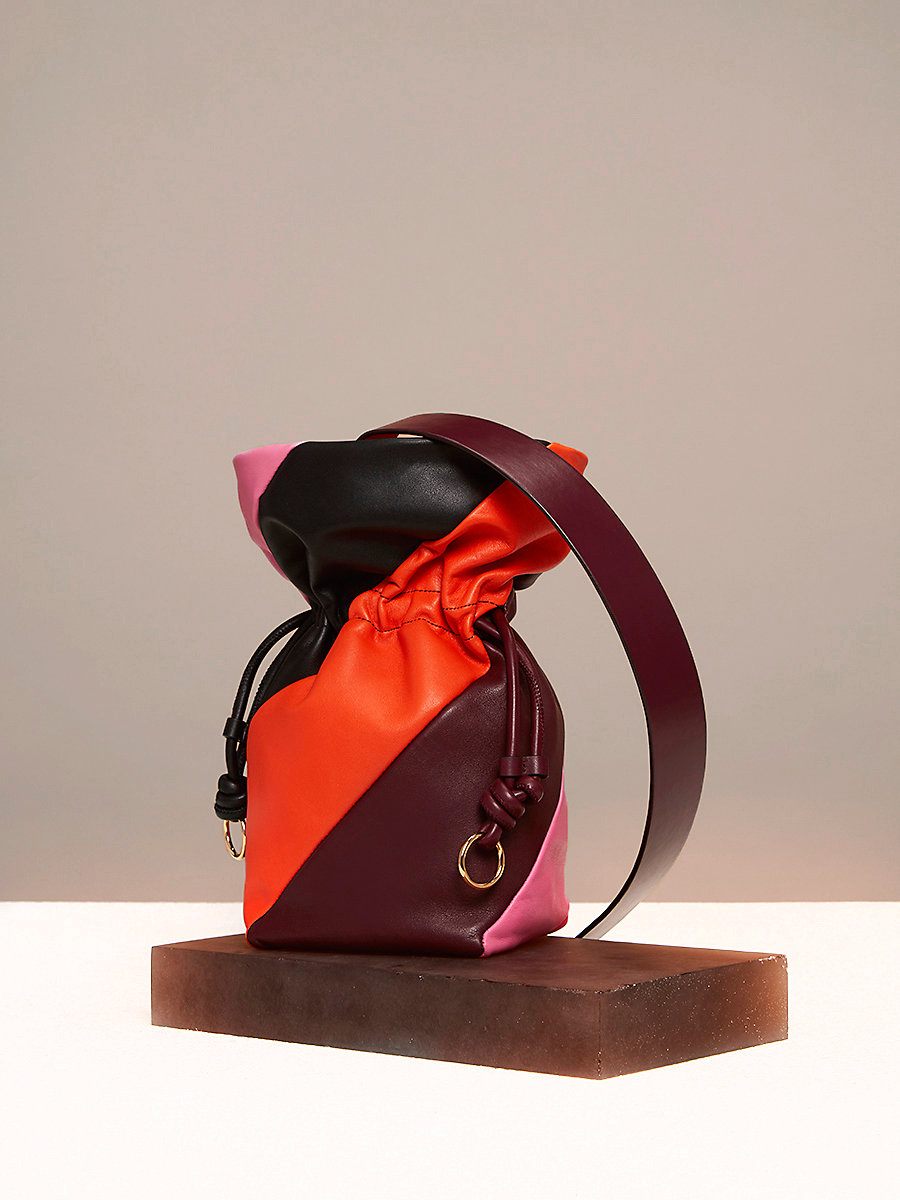Evening Drawstring Bag in Bordeaux/ Orange/ Pink Azalea by DVF