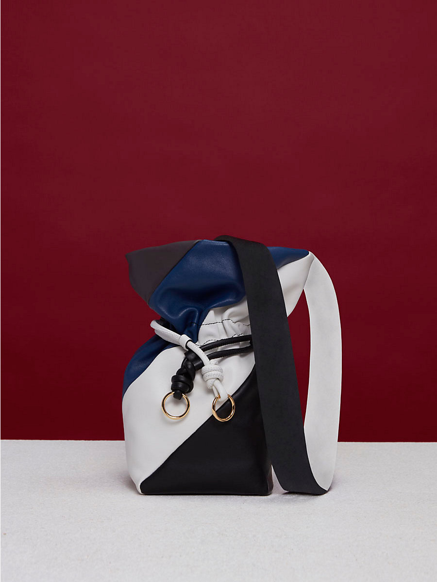 Evening Drawstring Bag in Midnight/ Black/ Ivory by DVF