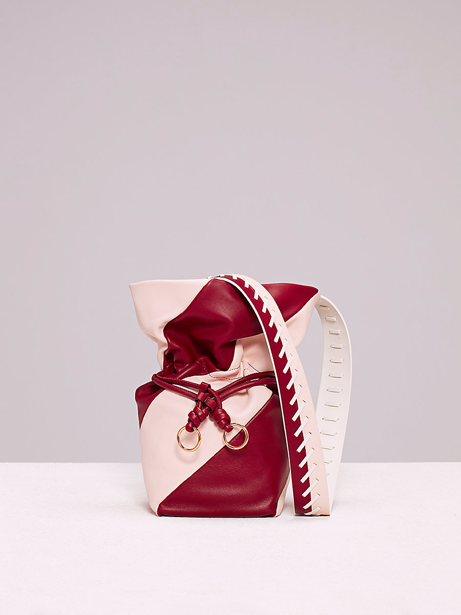 Evening Drawstring Bag in Red Wine/ Petal by DVF