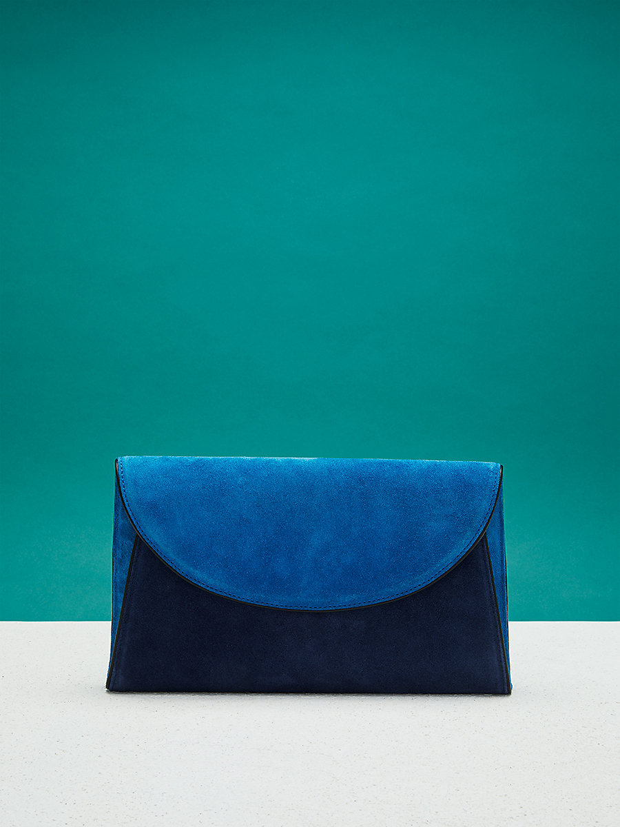 Evening Clutch in Tile Blue/ Midnight/ Black by DVF