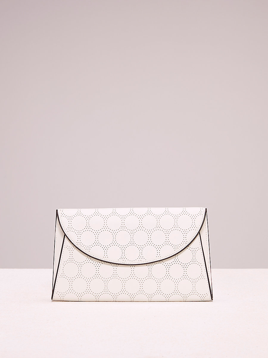 Perforated Evening Clutch in Ivory/ Black by DVF