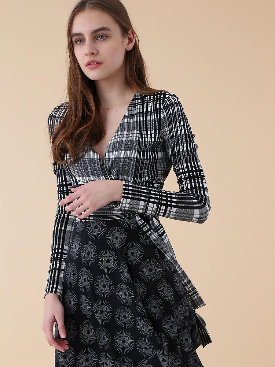 Jersey Combo Wrap Dress in Darnley Black/ Fenton Black by DVF