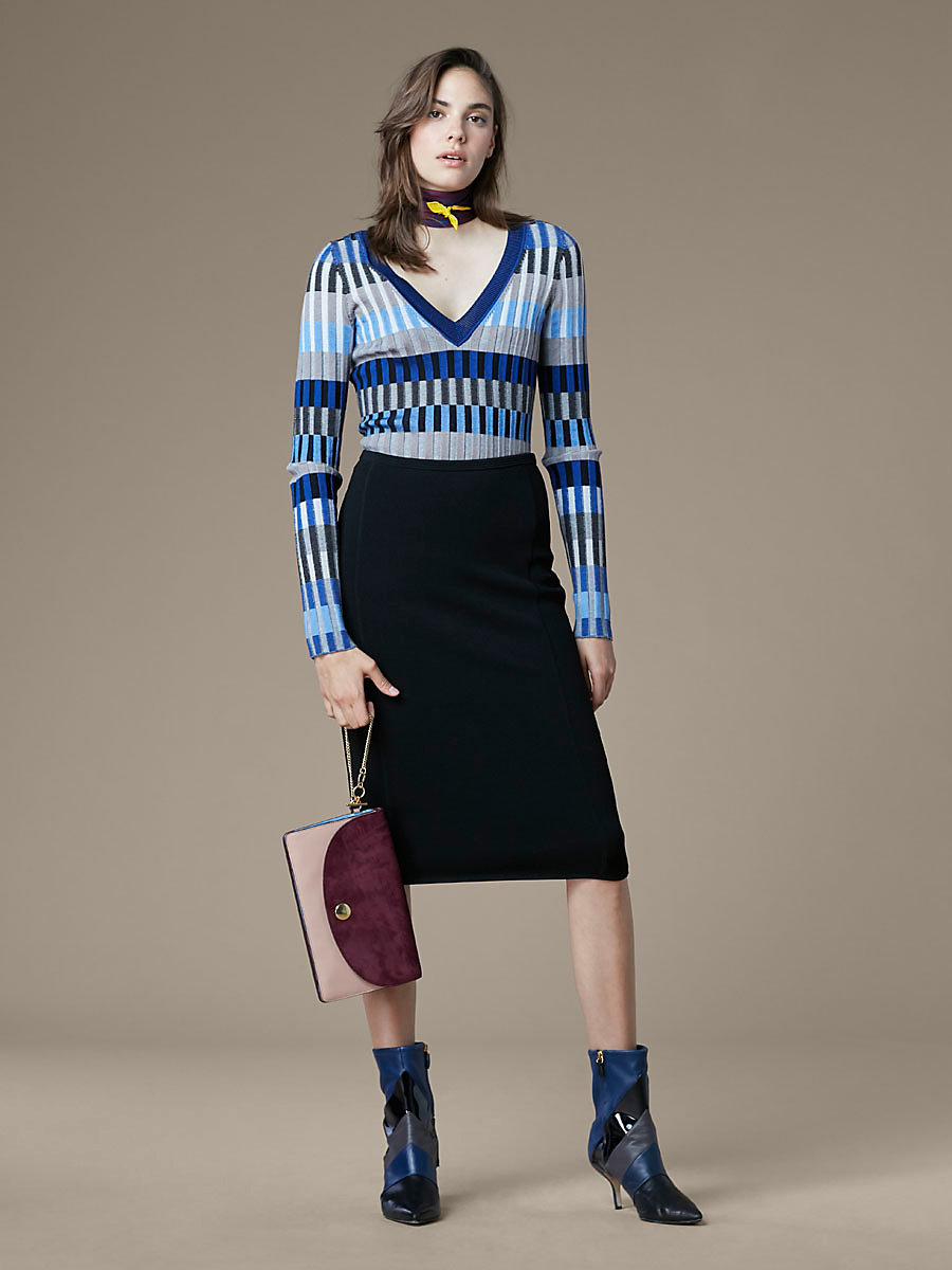 Knit Pencil Skirt in Black by DVF