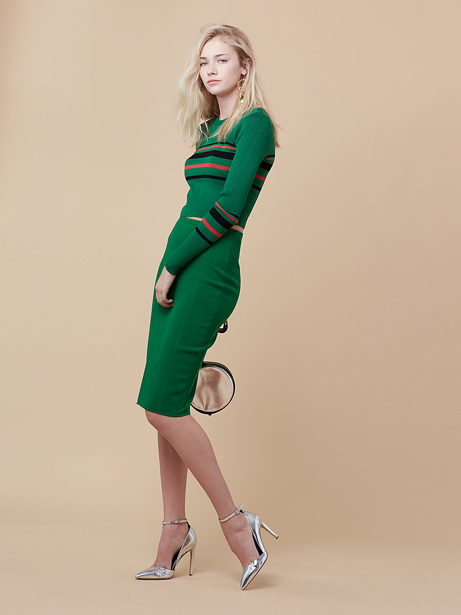 Knit Pencil Skirt in Green Envy by DVF