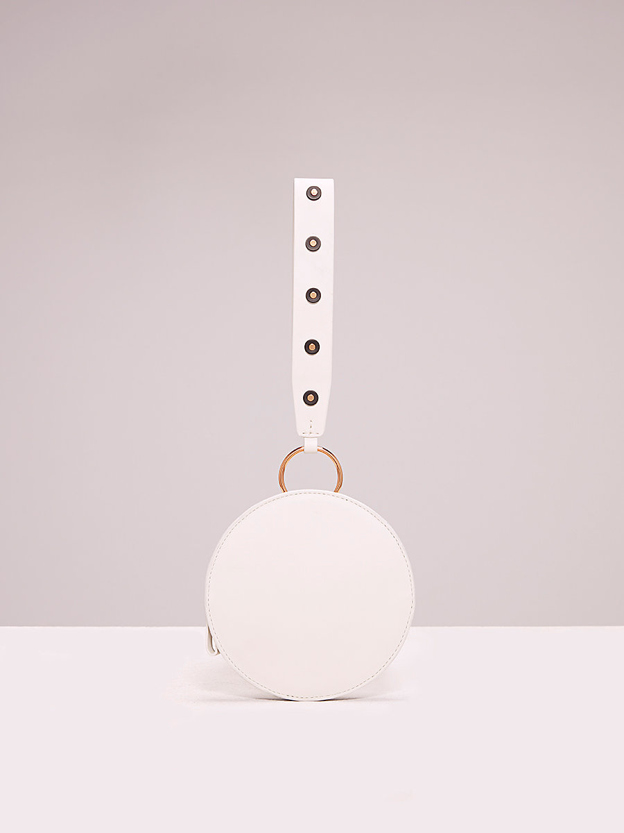 Studded Circle Wristlet in Ivory/ Black by DVF