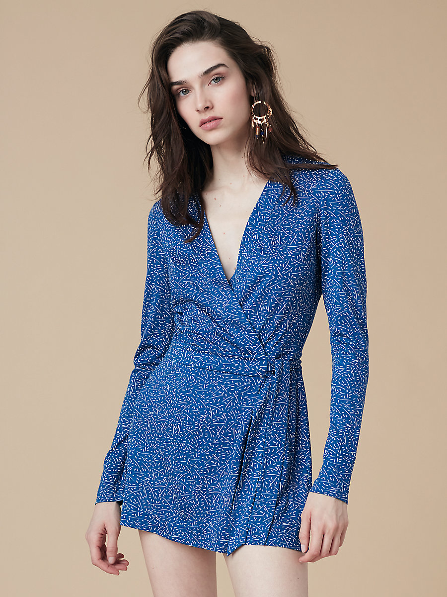 Long Sleeve Banded Celeste Romper in Becket French Blue by DVF