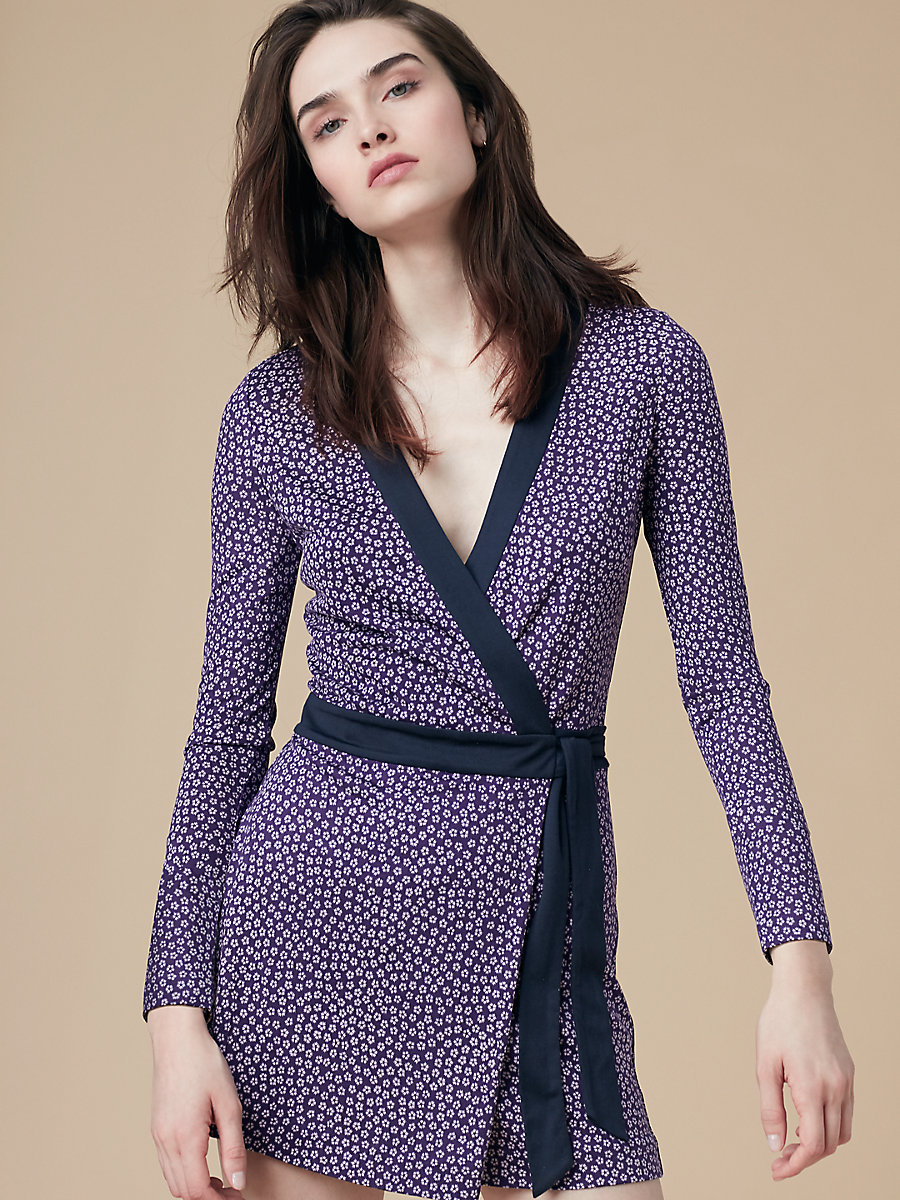 Long Sleeve Banded Celeste Romper in Dalton Dark Violet by DVF