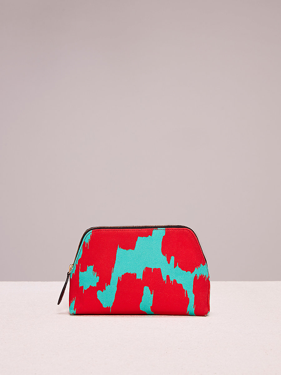 Cosmetic Canvas Pouch in Eylan Bold Red/ Bright Aqua by DVF