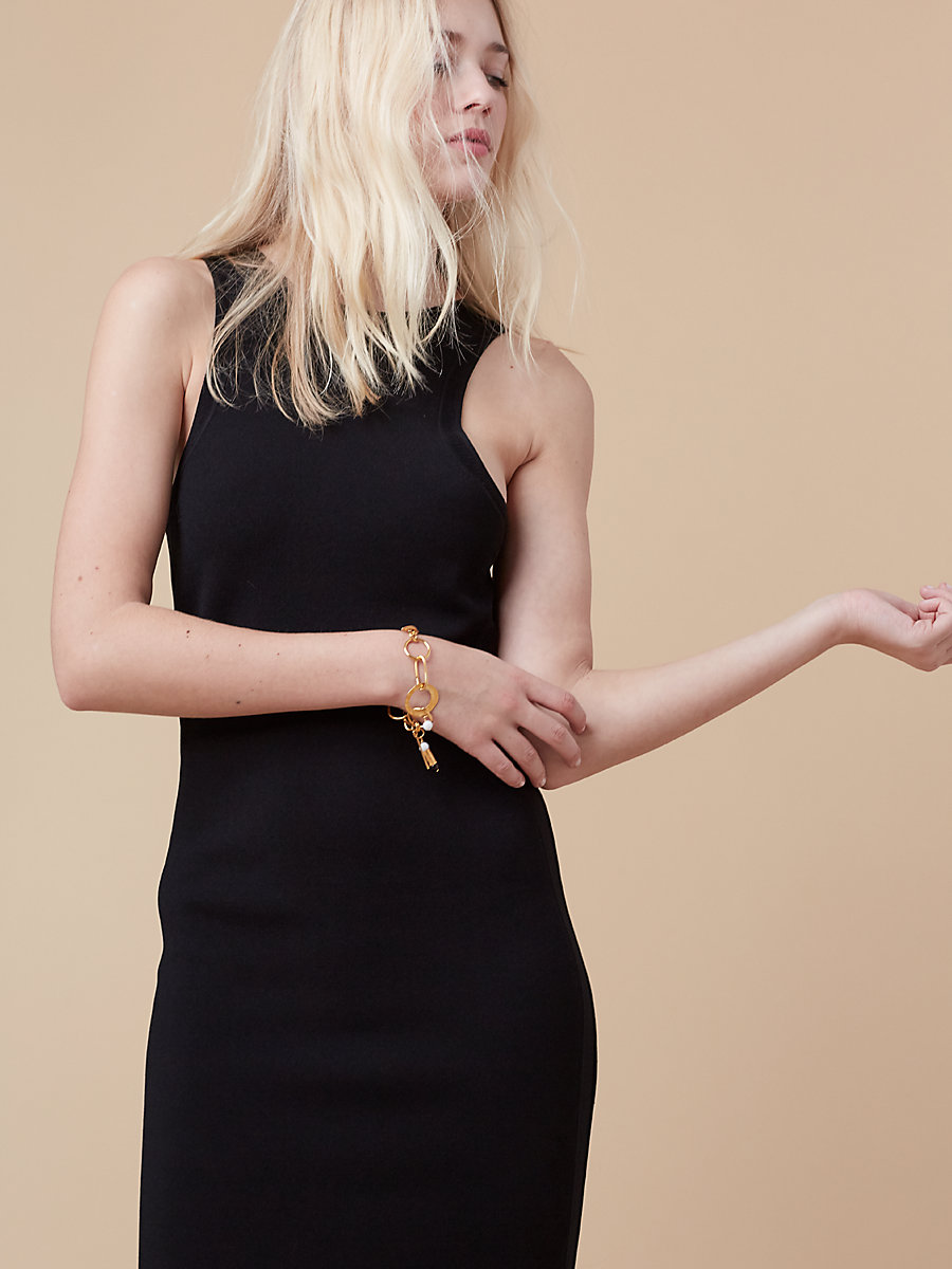 Fitted Knit Dress in Black by DVF