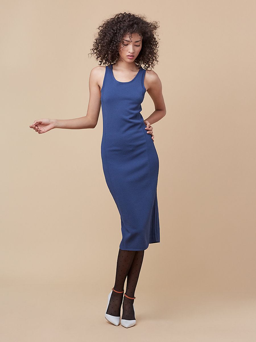 Fitted Knit Dress in Indigo by DVF