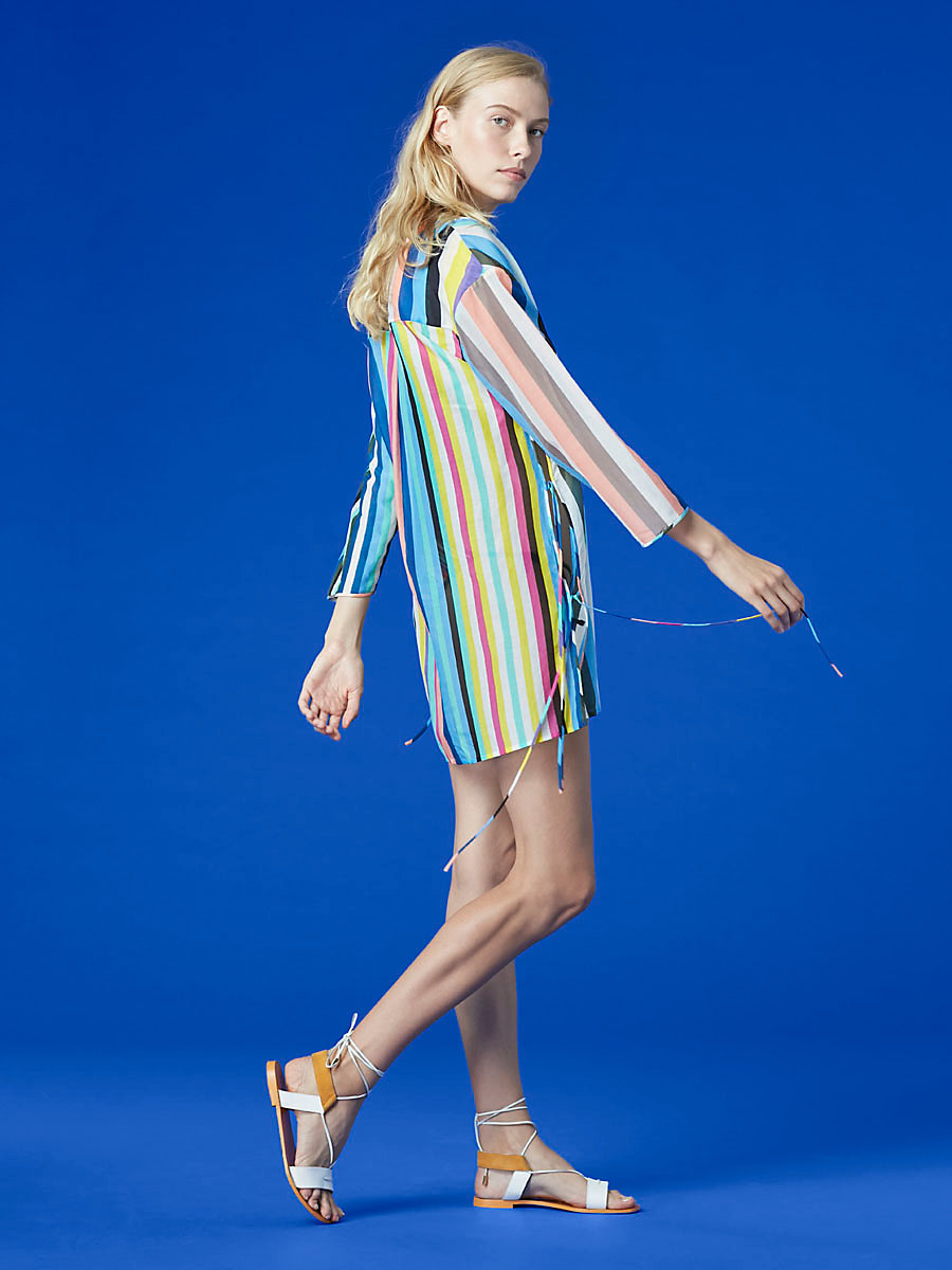V-Neck Tied Mini Dress in Owen Stripe Multi by DVF