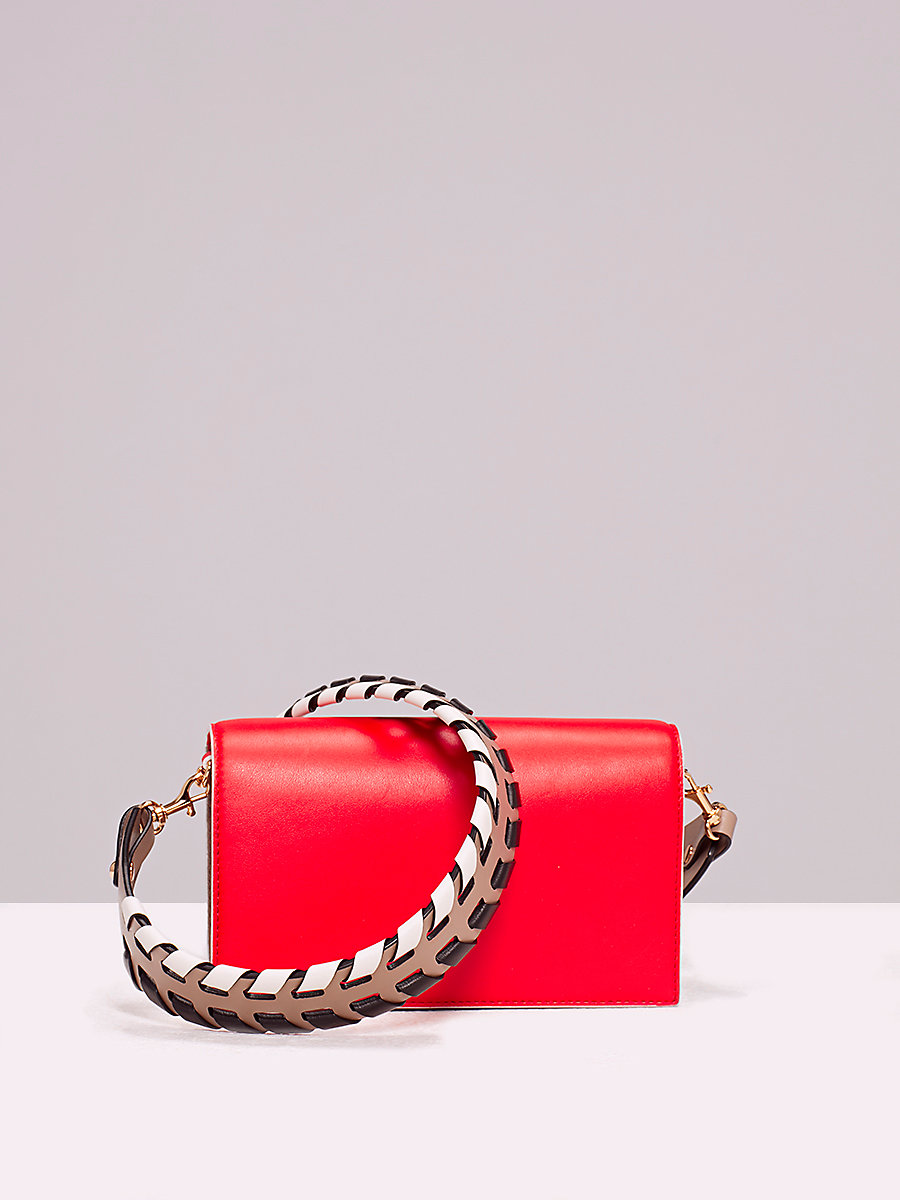 Soiree Crossbody Handbag in Bold Red/ Mushroom by DVF