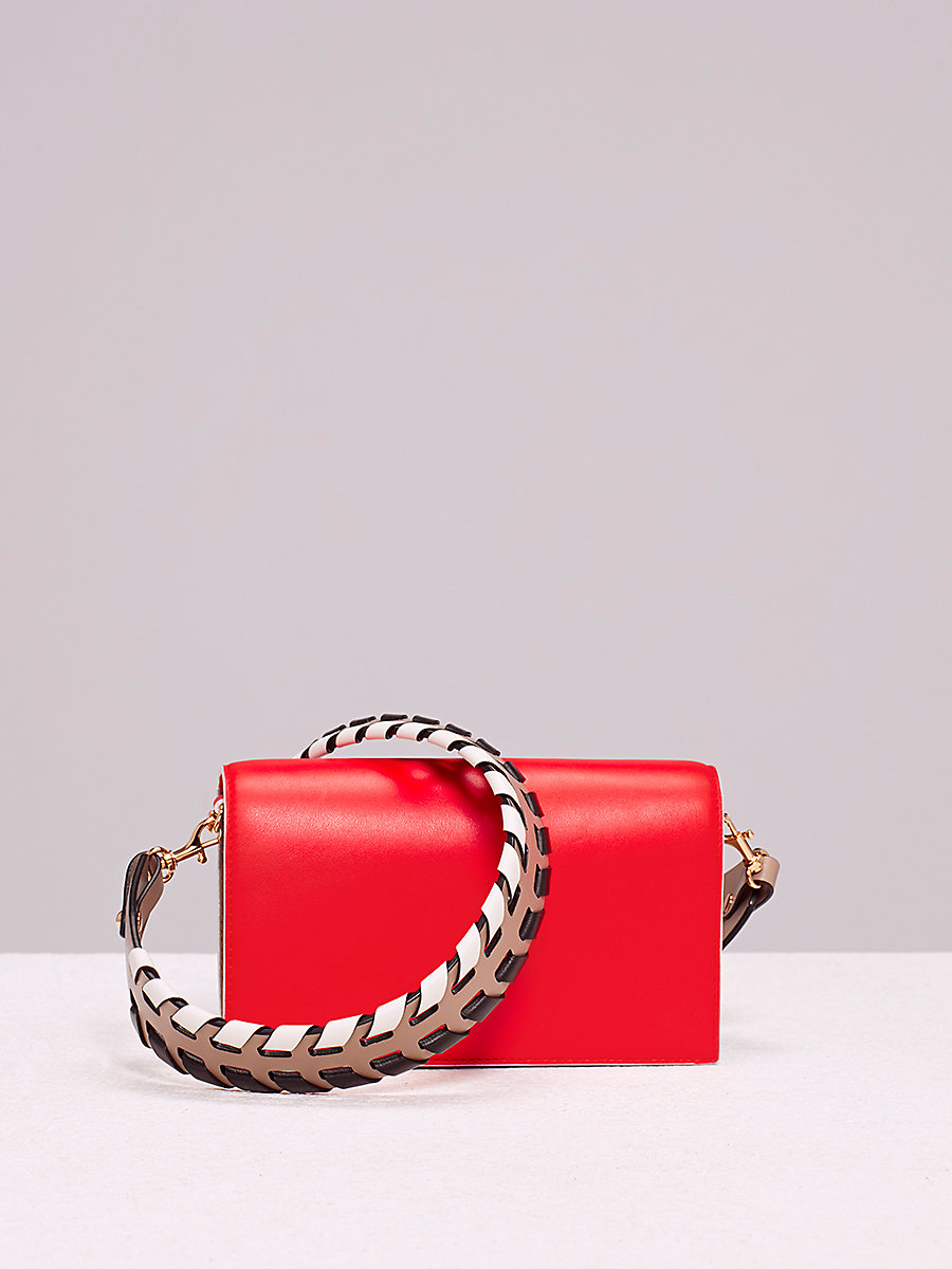 Soirée Crossbody Bag in Bold Red/ Mushroom by DVF
