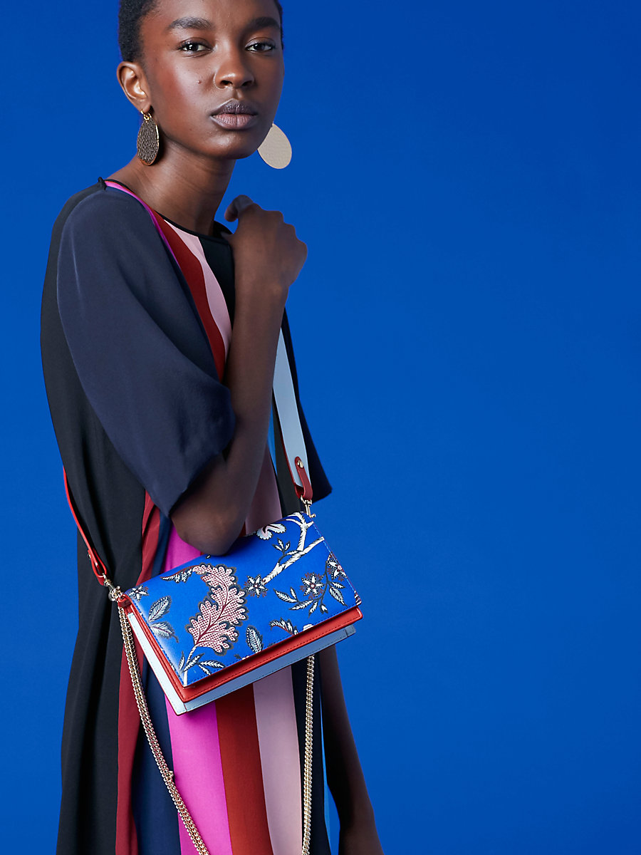 Soirée Crossbody Bag in Canton Electric Blue by DVF