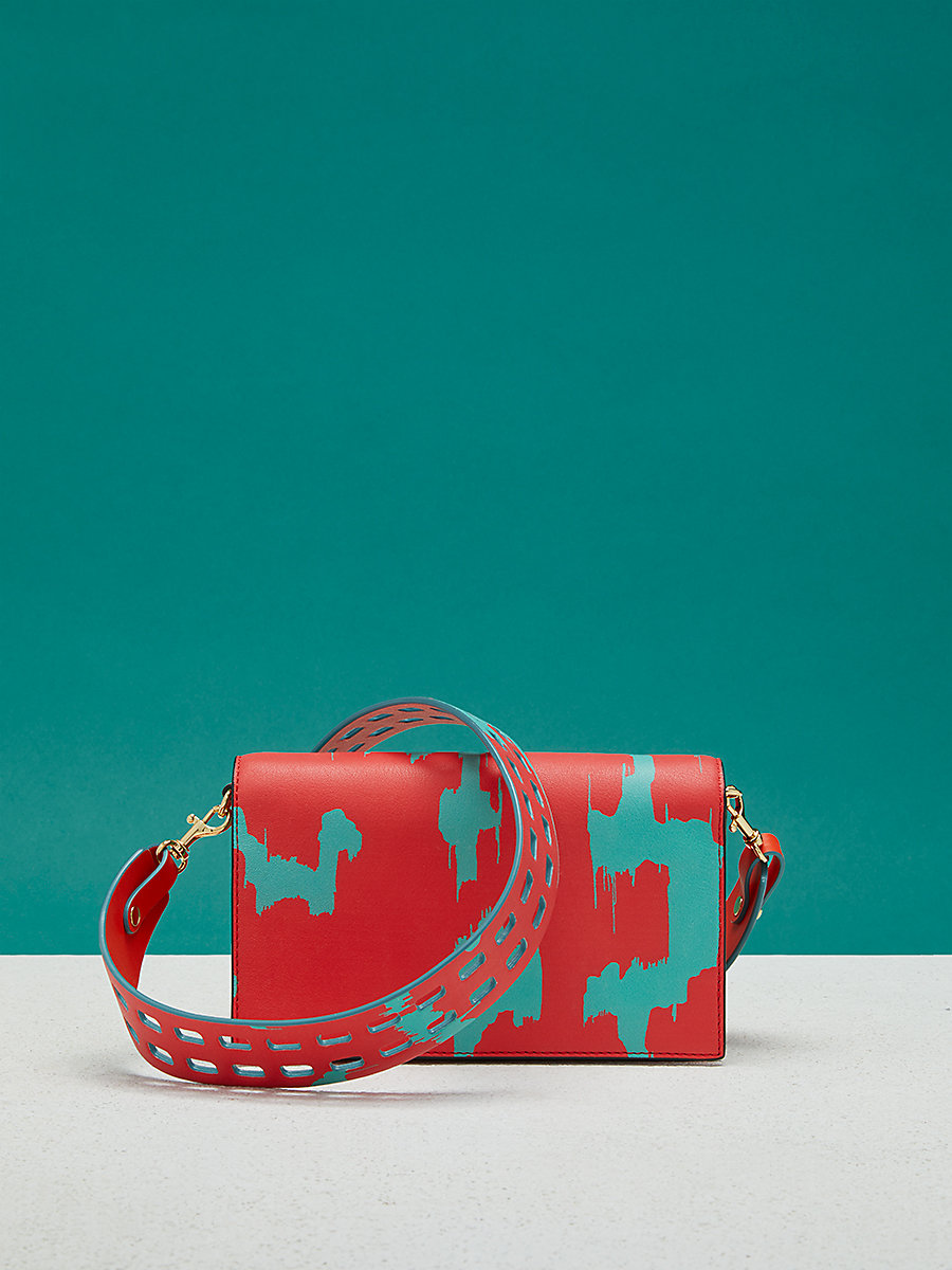 Mini Soirée Crossbody Bag in Eylan Bold Red/ Bright Aqua by DVF