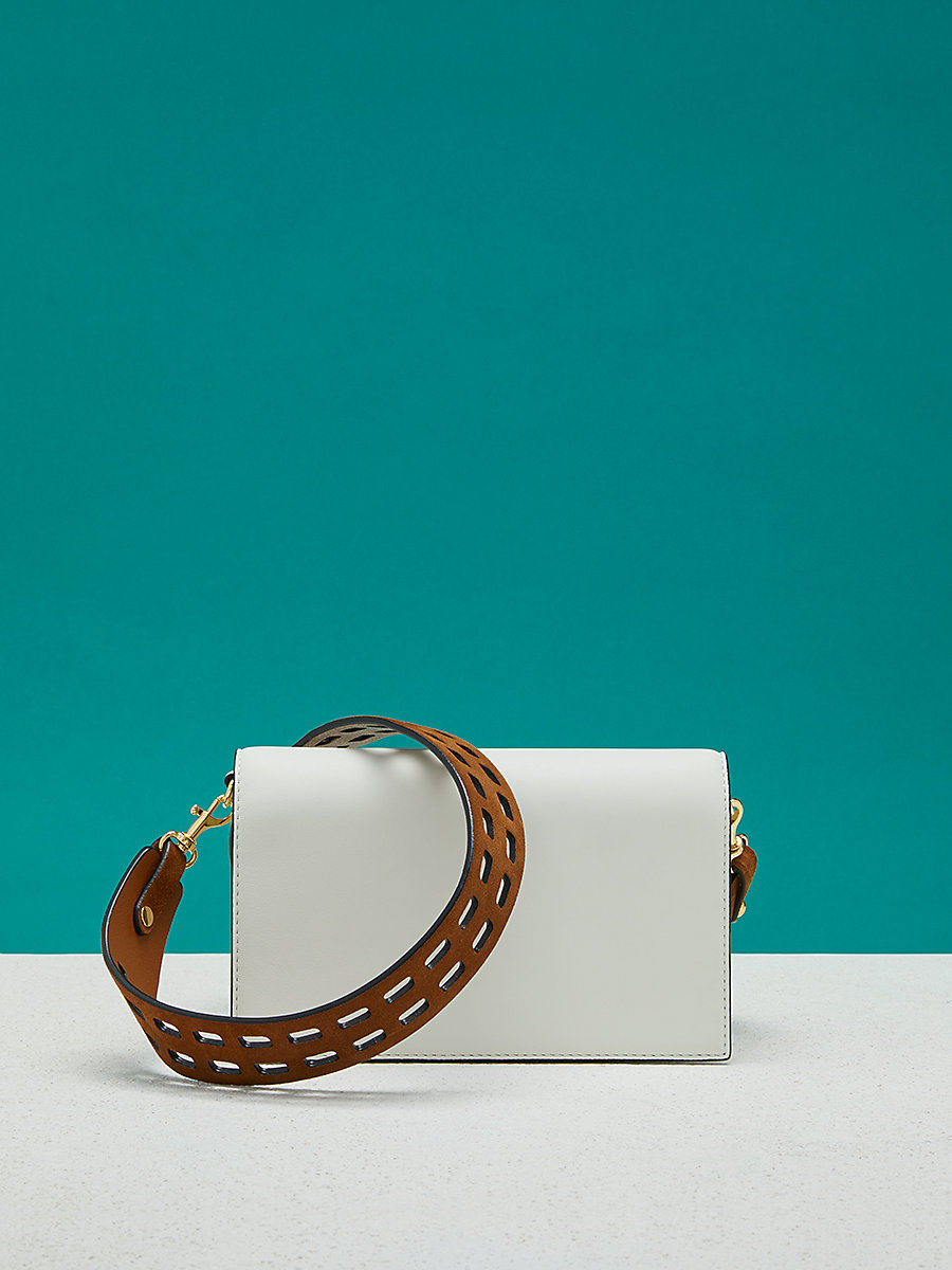 Soirée Crossbody Bag in Ivory/ Kola by DVF