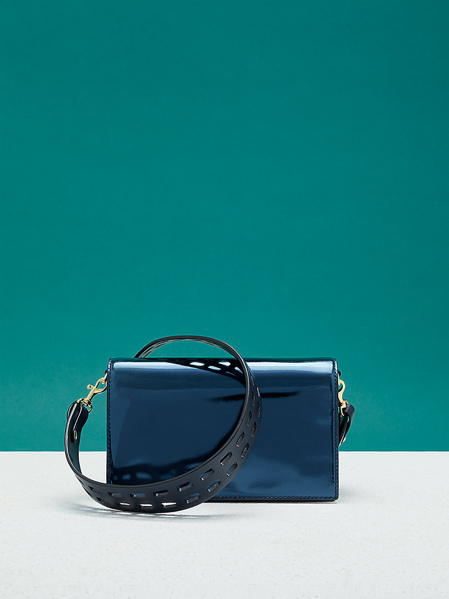 Mini Soirée Crossbody Bag in Midnight/ Blue by DVF