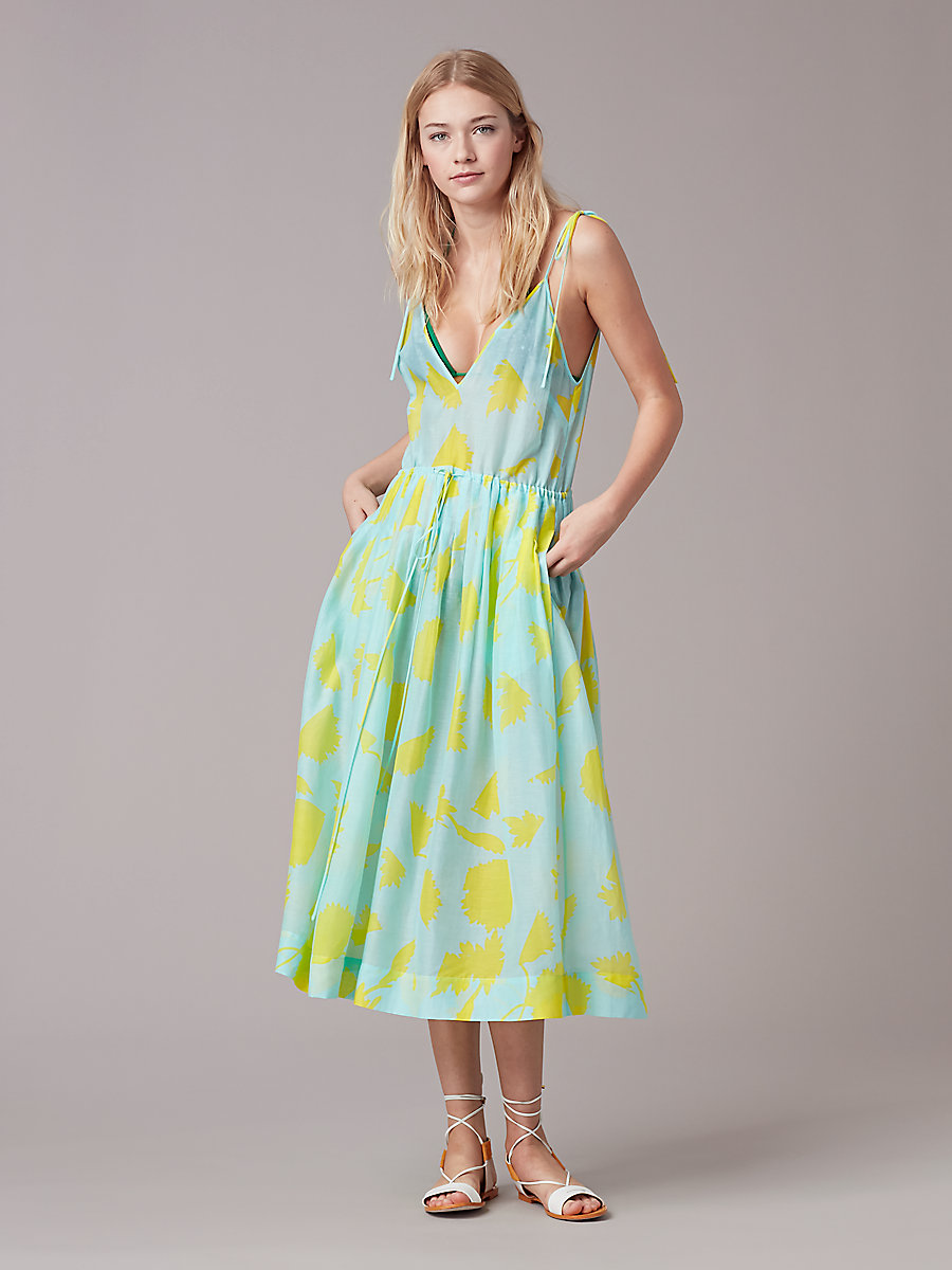 Sleeveless Tied Cinch Waist Dress in Cardan Large Pool by DVF