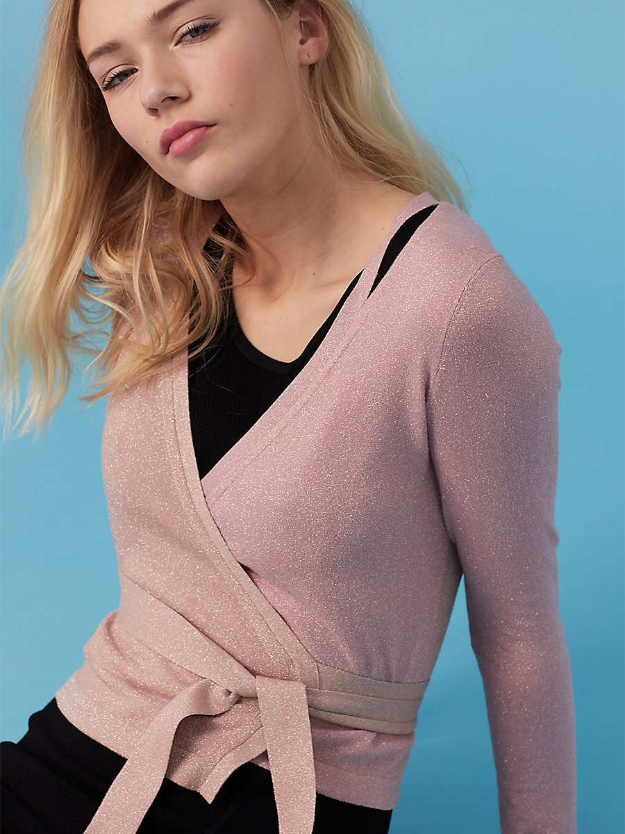 Lurex Wrap Cardigan in Nectar/ Dusty Rose by DVF