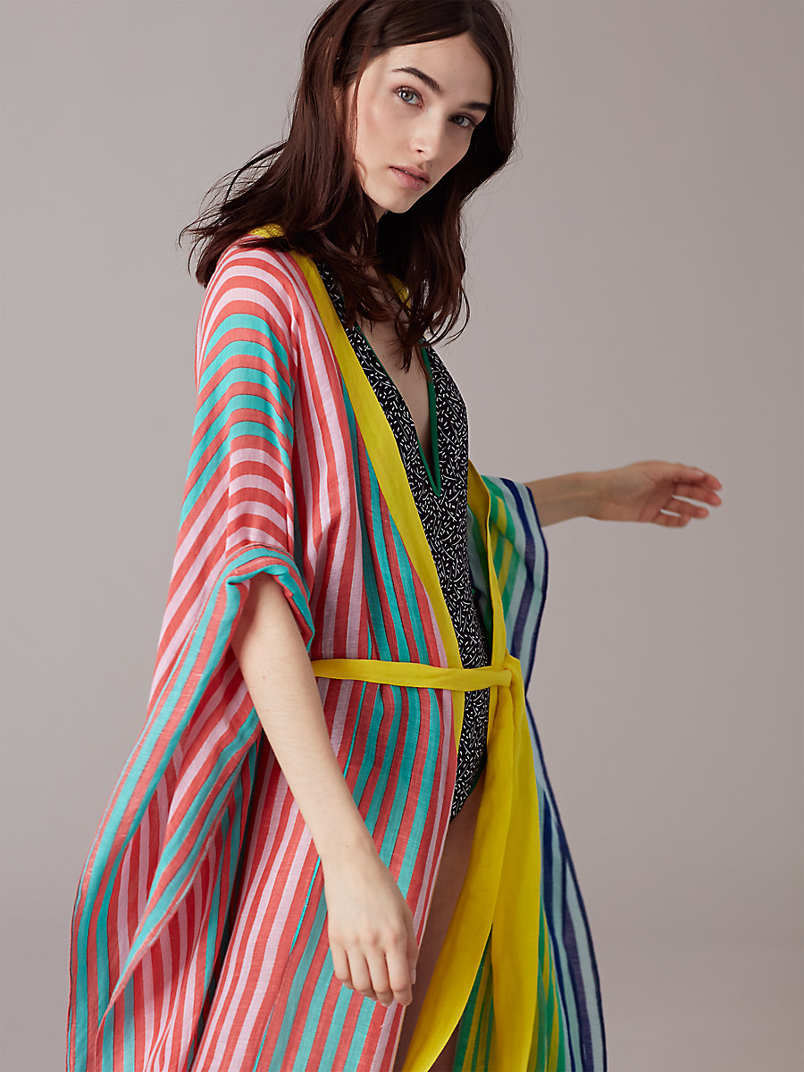 Short-Sleeve Tie Front Cover-Up in Riverin Stripe Combo by DVF