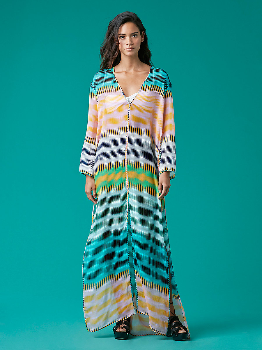 Tunic Floor-Length Cover-Up in Anson Stripe Jade by DVF