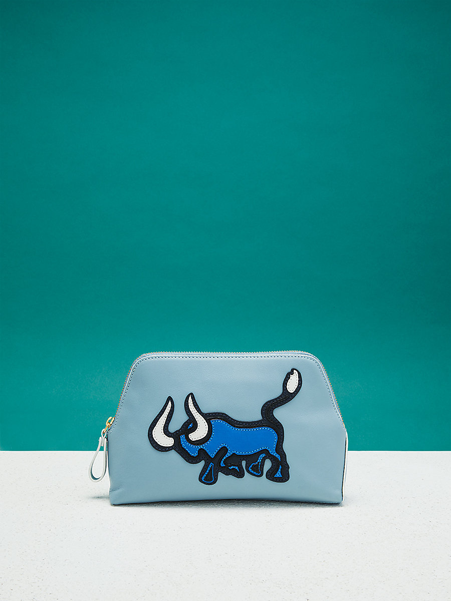 Zodiac Cosmetic Pouch in Taurus - Slate Blue by DVF