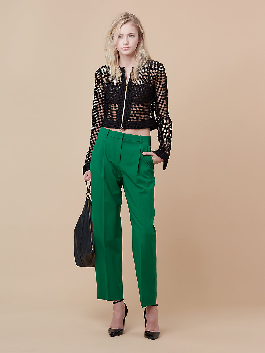 Pleat Front Pant in Green Envy by DVF