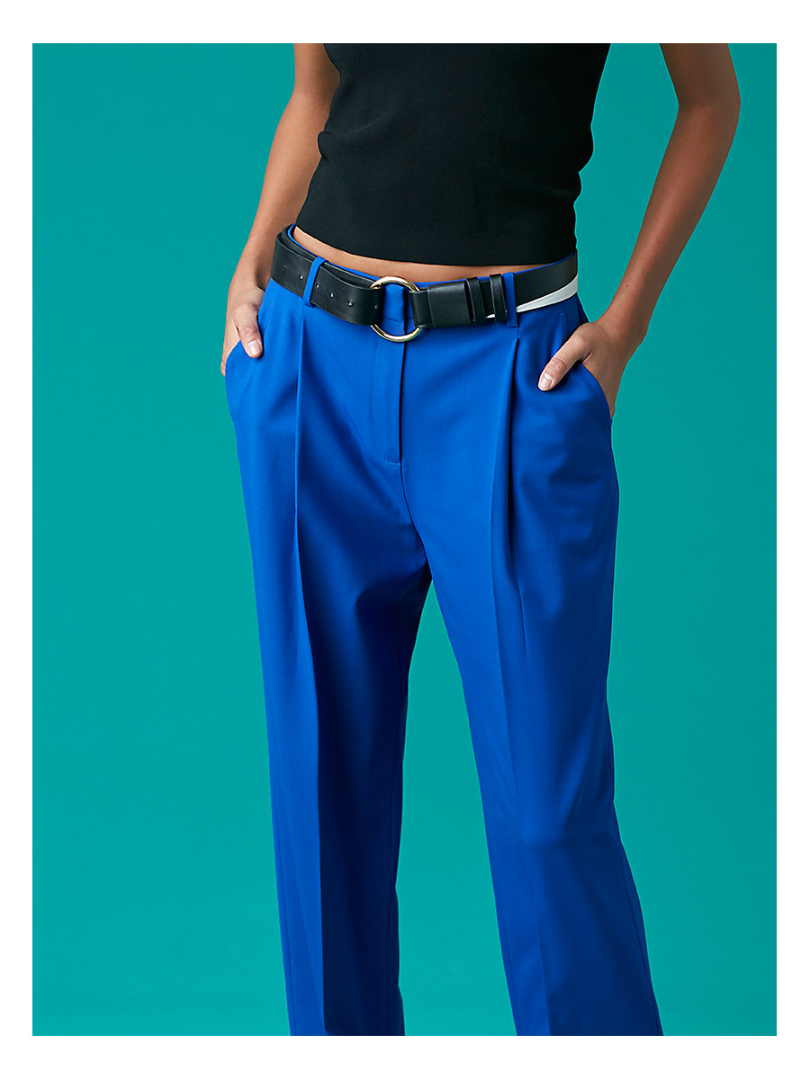 Pleat Front Pant in Klein Blue by DVF