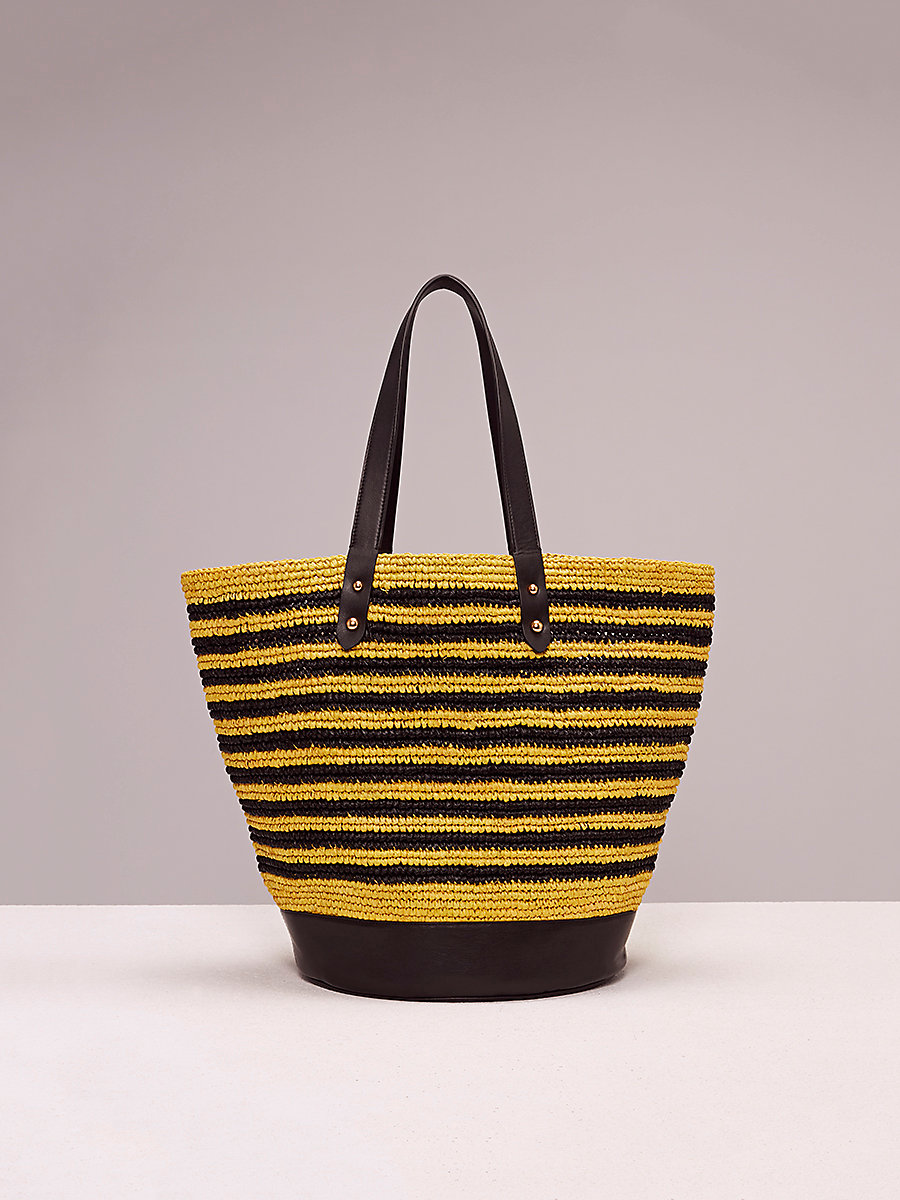 Raffia Tote in Acid Yellow/black by DVF