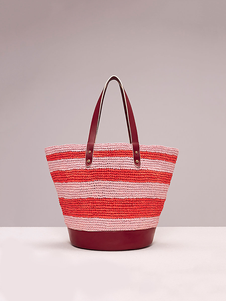 Raffia Tote in Coral/petal/red Wine by DVF