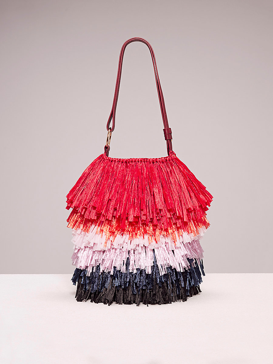 Fringe Raffia Tote in Coral/pink/black by DVF