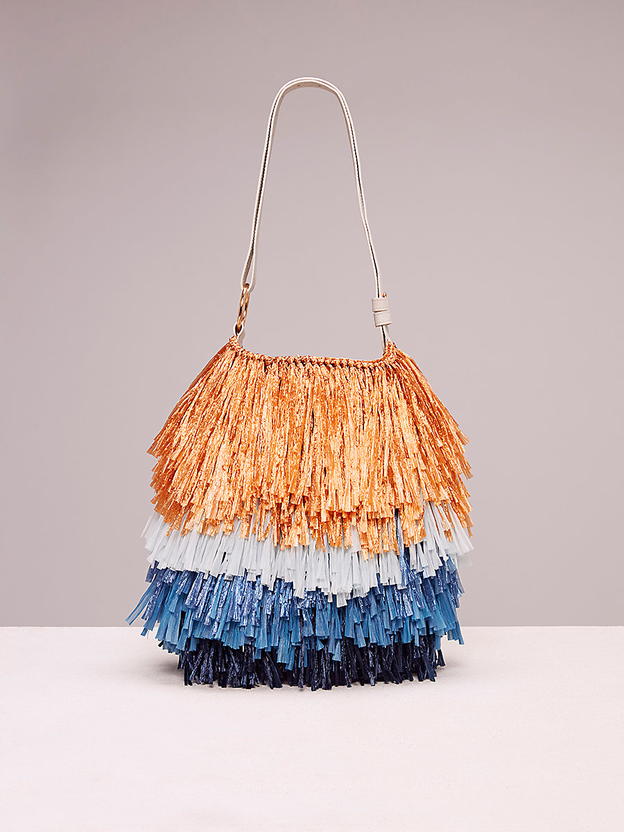 Fringe Raffia Tote in Gold/blue/bright Aqua by DVF
