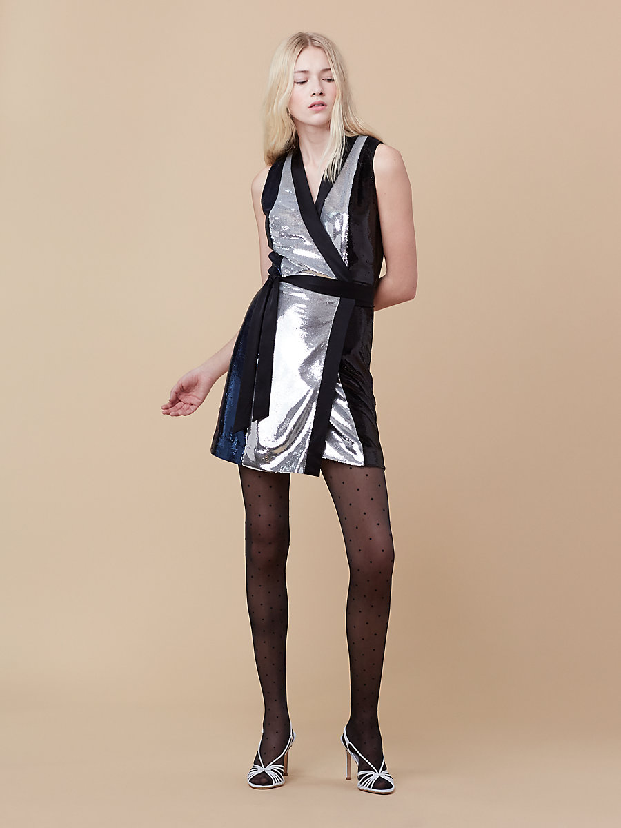 Sequin Wrap Dress in Silver/ Alexander Navy by DVF