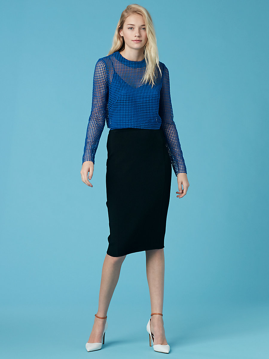 Chain Lace Shell in French Blue by DVF